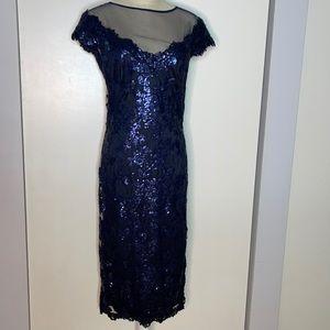 Tadashi Shoji Illusion Neck Lace Sequin Dress